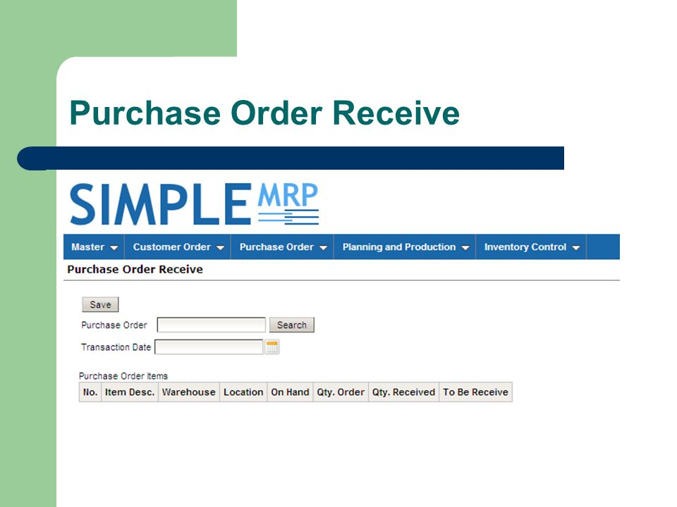 Purchase Order Receive