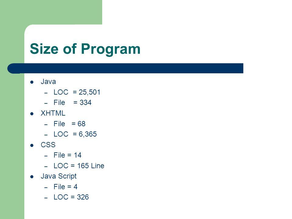 Size of Program Java – LOC = 25,501 – File = 334 XHTML – File = 68 – LOC = 6,365 CSS – File = 14 – LOC = 165 Line Java Script – File = 4 – LOC = 326