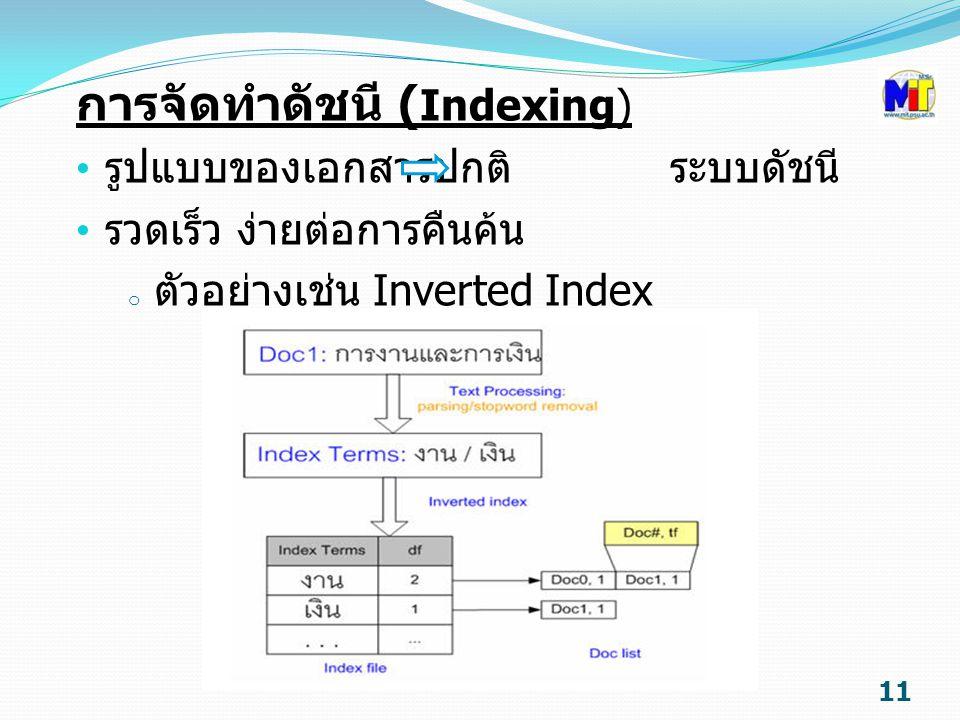 การจัดทำดัชนี ( Indexing) รูปแบบของเอกสารปกติ ระบบดัชนี รวดเร็ว ง่ายต่อการคืนค้น o ตัวอย่างเช่น Inverted Index 11