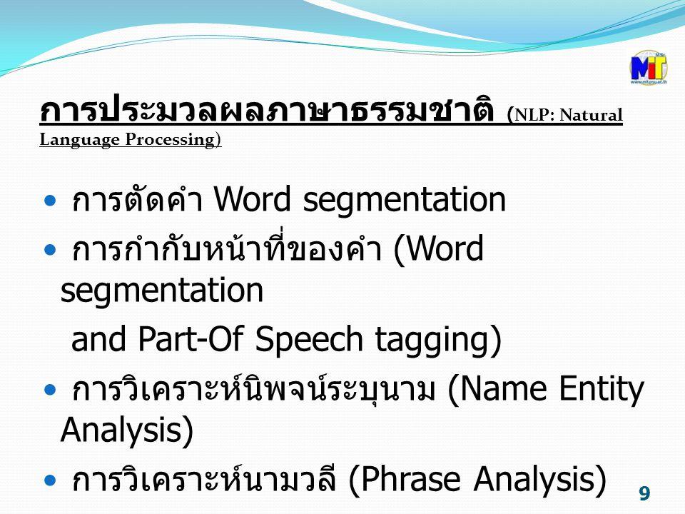 การประมวลผลภาษาธรรมชาติ (NLP: Natural Language Processing) การตัดคำ Word segmentation การกำกับหน้าที่ของคำ (Word segmentation and Part-Of Speech tagging) การวิเคราะห์นิพจน์ระบุนาม (Name Entity Analysis) การวิเคราะห์นามวลี (Phrase Analysis) 9