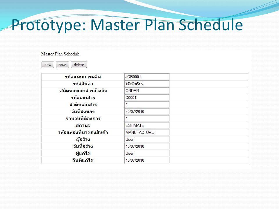 Prototype: Master Plan Schedule