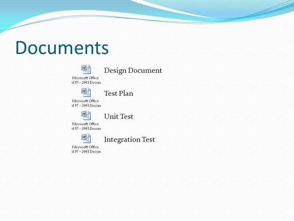 Documents Design Document Test Plan Integration Test Unit Test