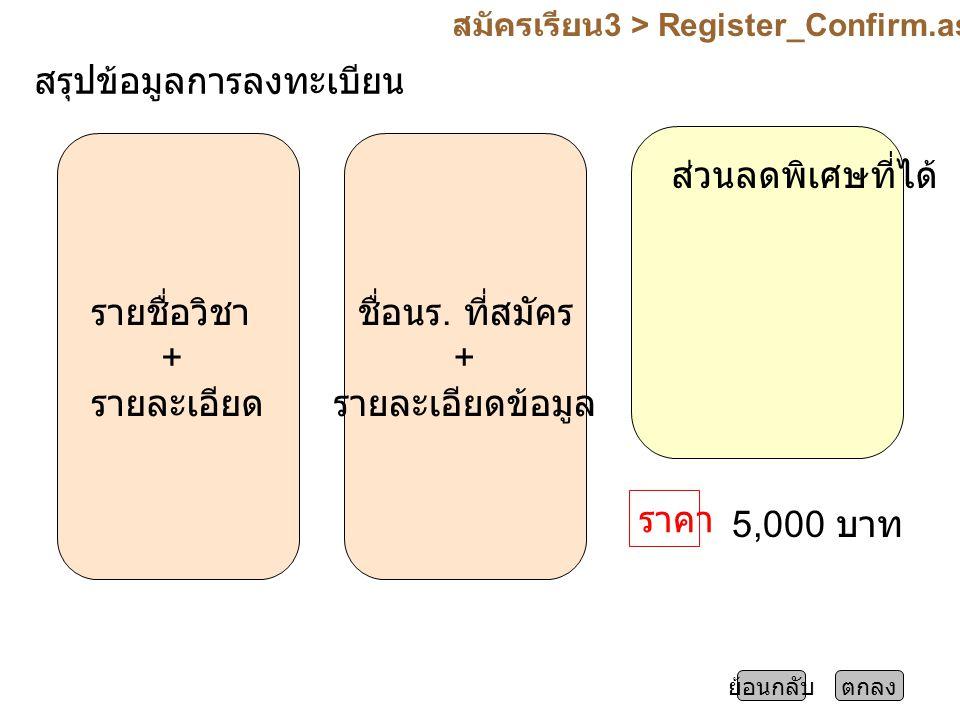 สมัครเรียน 3 > Register_Confirm.aspx ตกลงย้อนกลับ สรุปข้อมูลการลงทะเบียน รายชื่อวิชา + รายละเอียด ชื่อนร.