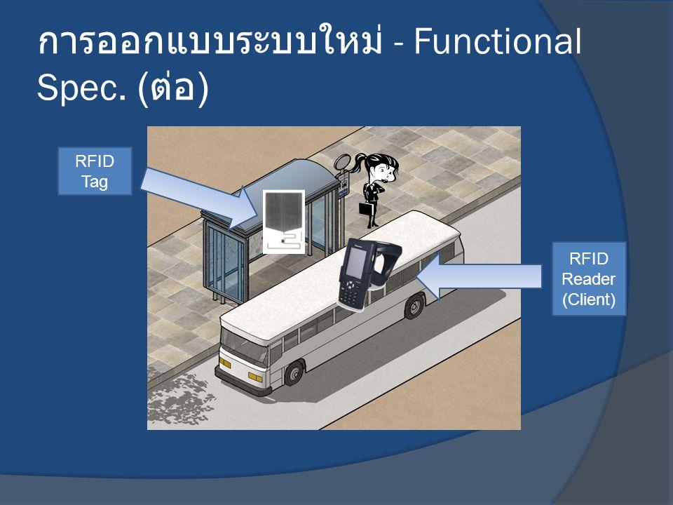 การออกแบบระบบใหม่ - Functional Spec. ( ต่อ ) RFID Reader (Client) RFID Tag