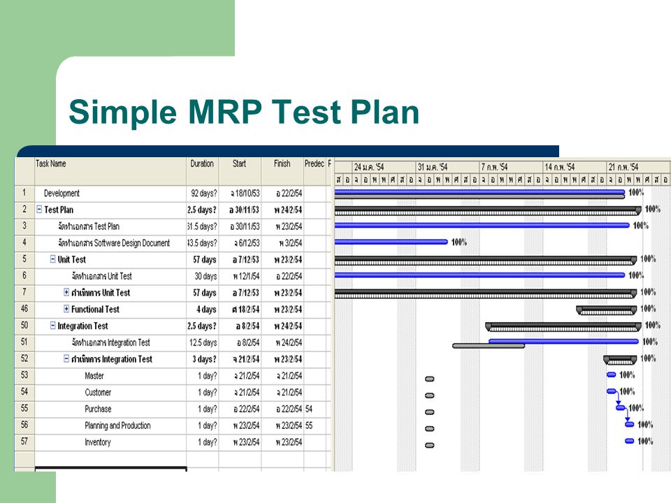 Simple MRP Test Plan