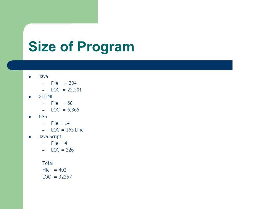 Size of Program Java – File = 334 – LOC = 25,501 XHTML – File = 68 – LOC = 6,365 CSS – File = 14 – LOC = 165 Line Java Script – File = 4 – LOC = 326 Total File = 402 LOC = 32357