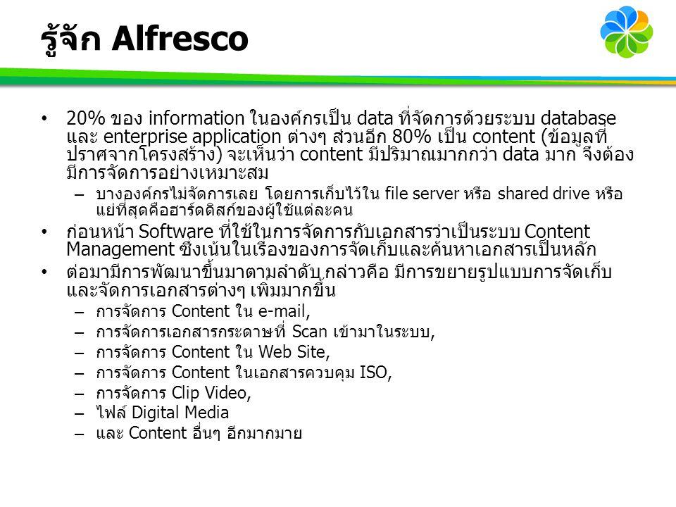 รู้จัก Alfresco 20% ของ information ในองค์กรเป็น data ที่จัดการด้วยระบบ database และ enterprise application ต่างๆ ส่วนอีก 80% เป็น content (ข้อมูลที่
