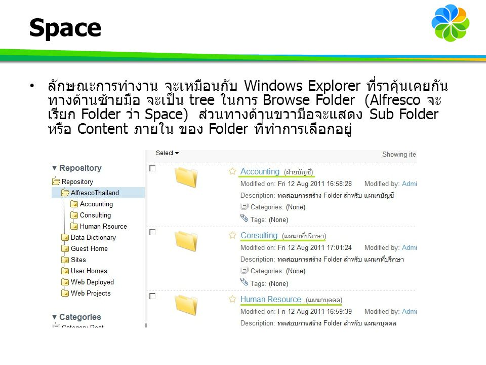 Space ลักษณะการทำงาน จะเหมือนกับ Windows Explorer ที่ราคุ้นเคยกัน ทางด้านซ้ายมือ จะเป็น tree ในการ Browse Folder (Alfresco จะ เรียก Folder ว่า Space)