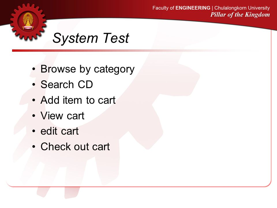 System Test Browse by category Search CD Add item to cart View cart edit cart Check out cart