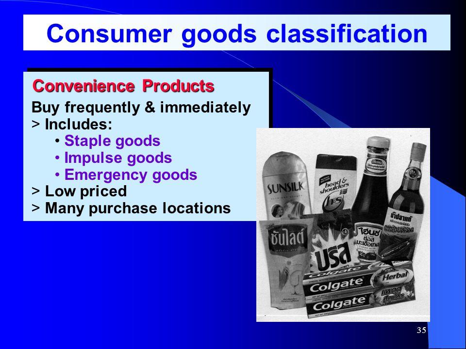 34 การจัดประเภทผลิตภัณฑ์ และ กลยุทธ์การตลาด Industrial- Goods Classification Consumer- Goods Classification Goods