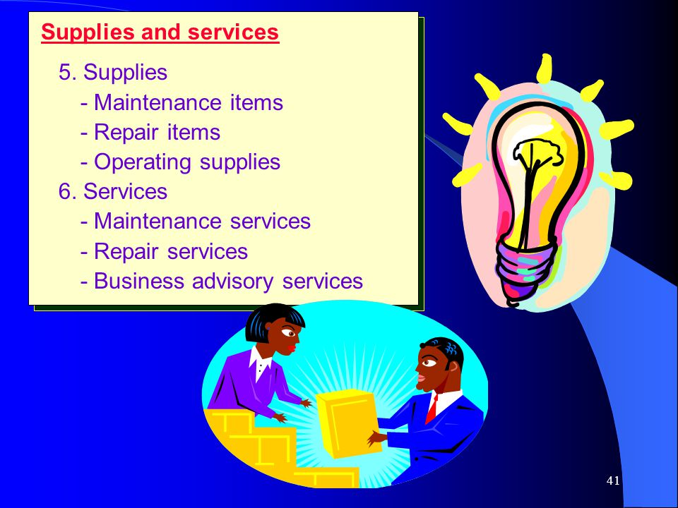 40 Capital items 3. Installations - Building - Fixed equipment 4. Accessory equipment - Factory equipment and tools - Office equipment