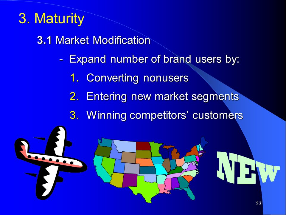52 2. Growth  Improve product quality and add new product features and improved styling  Add new models and flanker products  Enter new market segm
