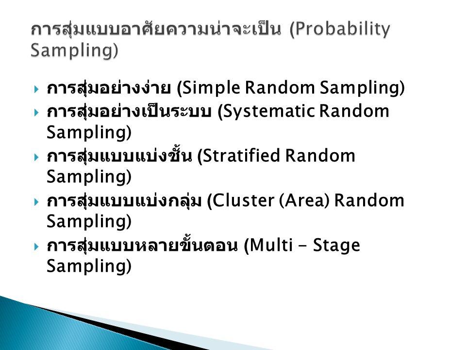  การสุ่มอย่างง่าย (Simple Random Sampling)  การสุ่มอย่างเป็นระบบ (Systematic Random Sampling)  การสุ่มแบบแบ่งชั้น (Stratified Random Sampling)  กา