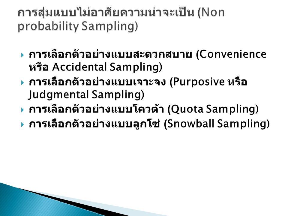  การเลือกตัวอย่างแบบสะดวกสบาย (Convenience หรือ Accidental Sampling)  การเลือกตัวอย่างแบบเจาะจง (Purposive หรือ Judgmental Sampling)  การเลือกตัวอย