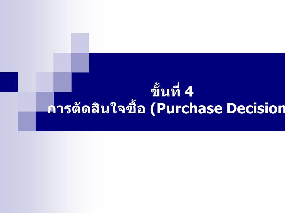ขั้นที่ 4 การตัดสินใจซื้อ (Purchase Decision)