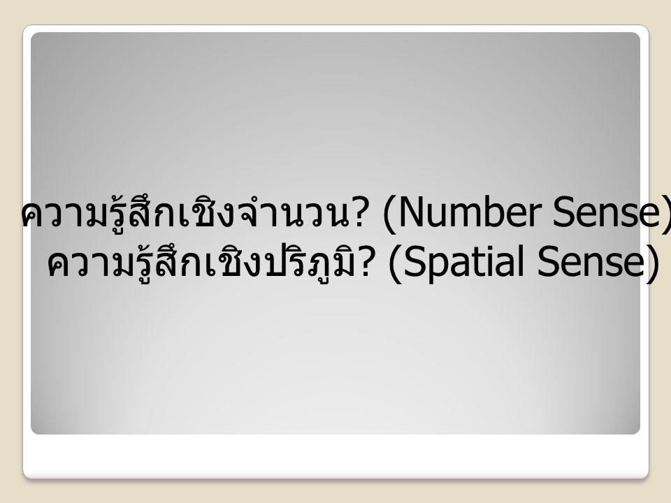 ความรู้สึกเชิงจำนวน ? (Number Sense) ความรู้สึกเชิงปริภูมิ ? (Spatial Sense)
