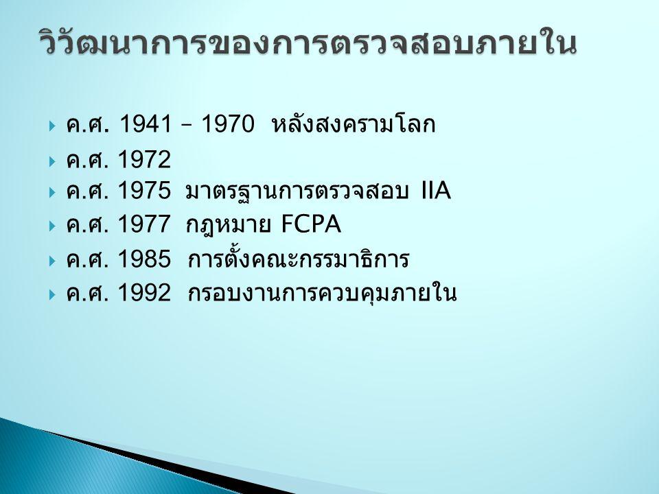  ค. ศ. 1941 – 1970 หลังสงครามโลก  ค. ศ. 1972  ค. ศ. 1975 มาตรฐานการตรวจสอบ IIA  ค. ศ. 1977 กฎหมาย FCPA  ค. ศ. 1985 การตั้งคณะกรรมาธิการ  ค. ศ. 1
