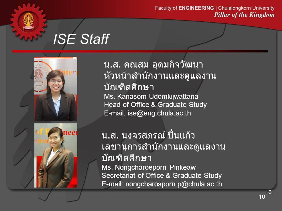 ISE Staff 10 น.ส. คณสม อุดมกิจวัฒนา หัวหน้าสำนักงานและดูแลงาน บัณฑิตศึกษา Ms.