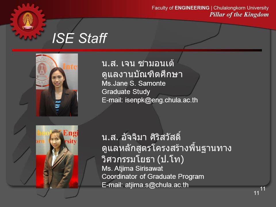 ISE Staff 11 น. ส. อัจจิมา ศิริสวัสดิ์ ดูแลหลักสูตรโครงสร้างพื้นฐานทาง วิศวกรรมโยธา ( ป. โท ) Ms. Atjima Sirisawat Coordinator of Graduate Program E-m