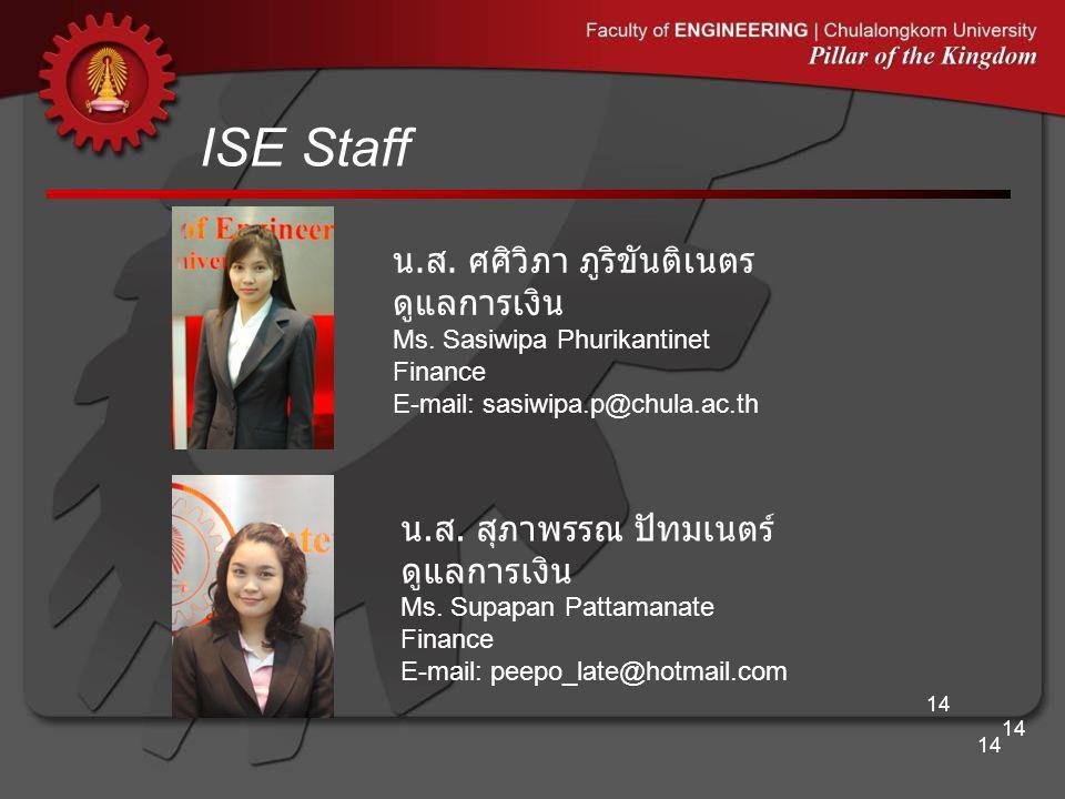 ISE Staff 14 น. ส. ศศิวิภา ภูริขันติเนตร ดูแลการเงิน Ms. Sasiwipa Phurikantinet Finance E-mail: sasiwipa.p@chula.ac.th น. ส. สุภาพรรณ ปัทมเนตร์ ดูแลกา