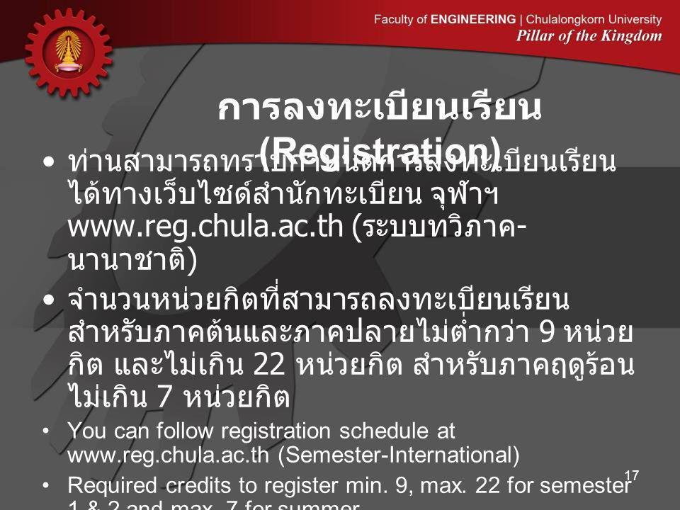ท่านสามารถทราบกำหนดการลงทะเบียนเรียน ได้ทางเว็บไซด์สำนักทะเบียน จุฬาฯ www.reg.chula.ac.th ( ระบบทวิภาค - นานาชาติ ) จำนวนหน่วยกิตที่สามารถลงทะเบียนเรียน สำหรับภาคต้นและภาคปลายไม่ต่ำกว่า 9 หน่วย กิต และไม่เกิน 22 หน่วยกิต สำหรับภาคฤดูร้อน ไม่เกิน 7 หน่วยกิต You can follow registration schedule at www.reg.chula.ac.th (Semester-International) Required credits to register min.
