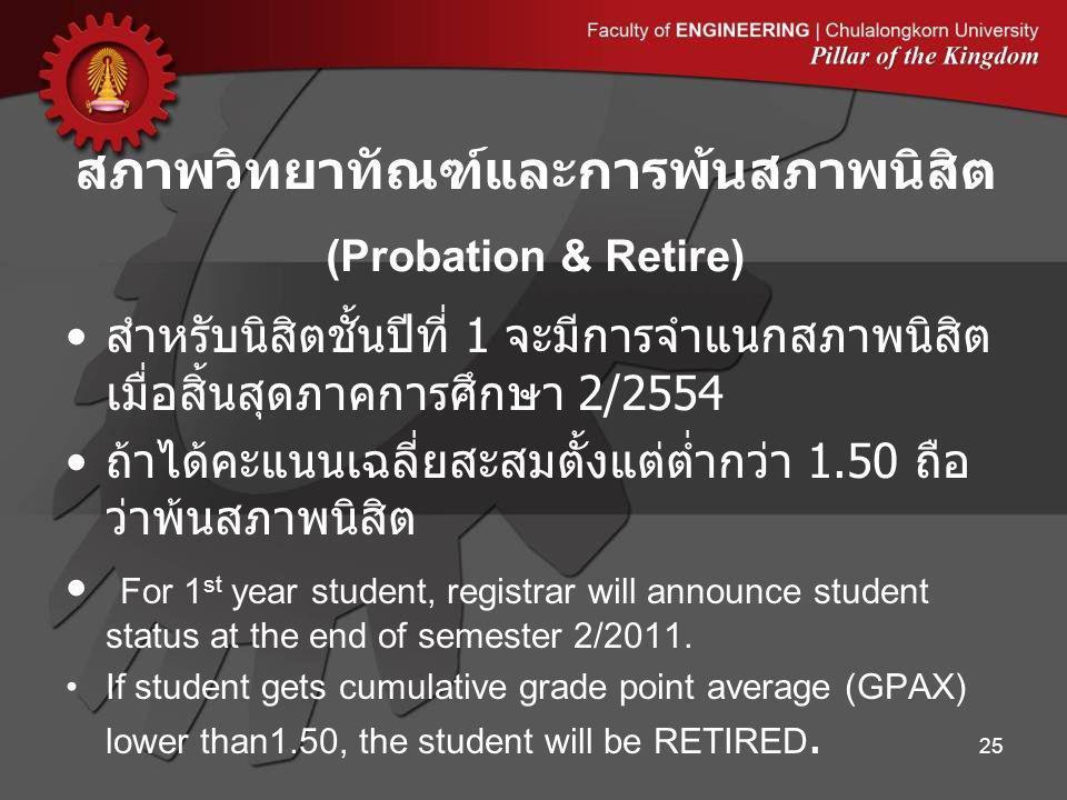 สำหรับนิสิตชั้นปีที่ 1 จะมีการจำแนกสภาพนิสิต เมื่อสิ้นสุดภาคการศึกษา 2/2554 ถ้าได้คะแนนเฉลี่ยสะสมตั้งแต่ต่ำกว่า 1.50 ถือ ว่าพ้นสภาพนิสิต For 1 st year student, registrar will announce student status at the end of semester 2/2011.