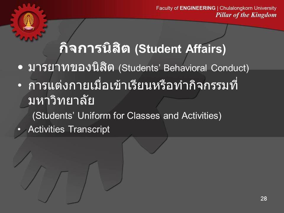 มารยาทของนิสิต (Students' Behavioral Conduct) การแต่งกายเมื่อเข้าเรียนหรือทำกิจกรรมที่ มหาวิทยาลัย (Students' Uniform for Classes and Activities) Activities Transcript กิจการนิสิต (Student Affairs) 28