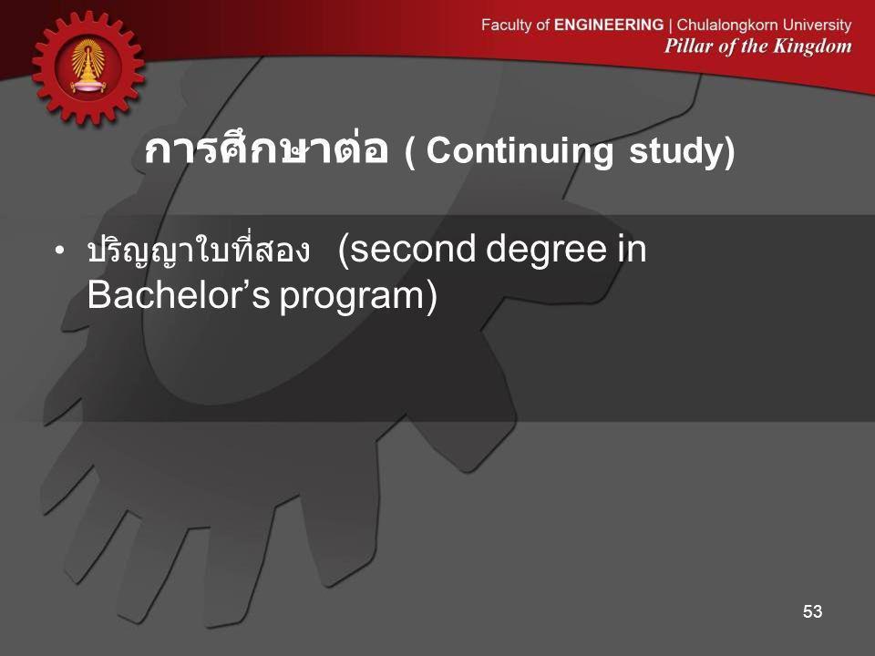 ปริญญาใบที่สอง (second degree in Bachelor's program) การศึกษาต่อ ( Continuing study) 53