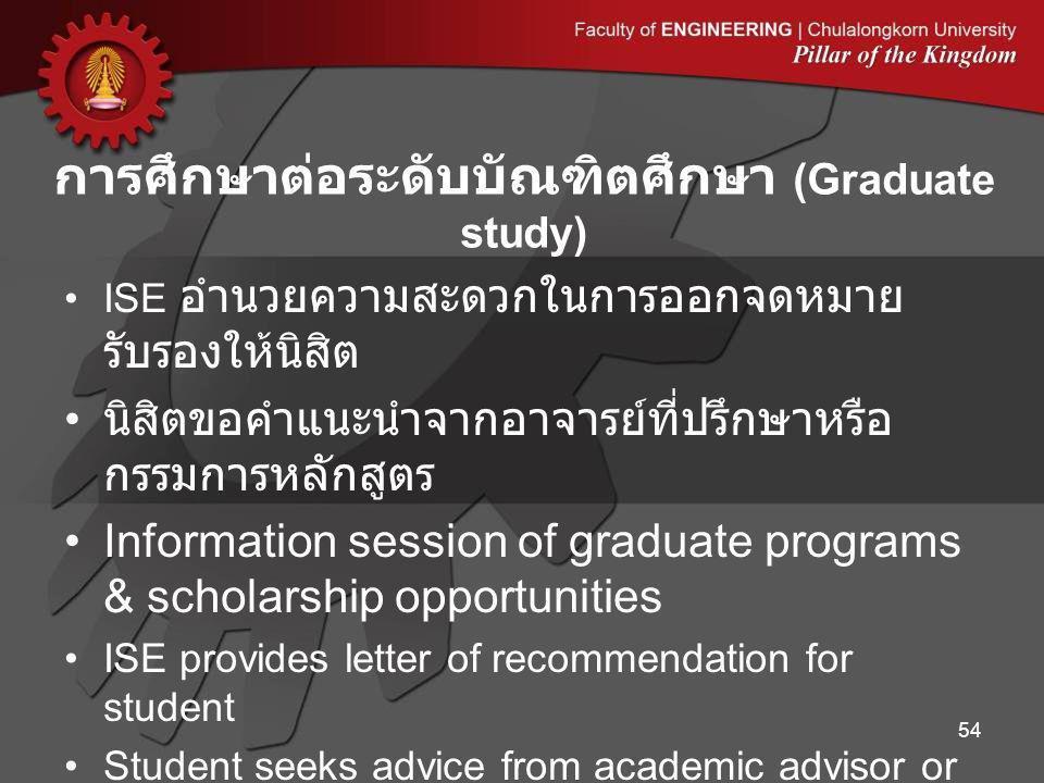 ISE อำนวยความสะดวกในการออกจดหมาย รับรองให้นิสิต นิสิตขอคำแนะนำจากอาจารย์ที่ปรึกษาหรือ กรรมการหลักสูตร Information session of graduate programs & schol