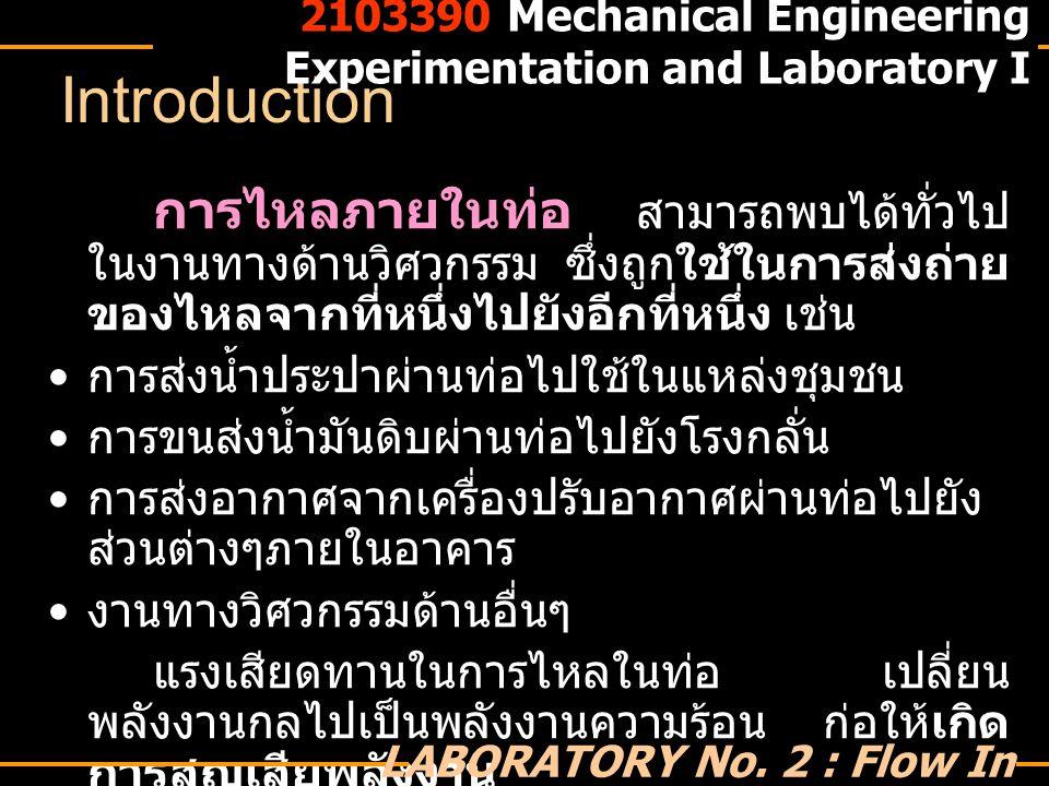 2103390 Mechanical Engineering Experimentation and Laboratory I LABORATORY No.