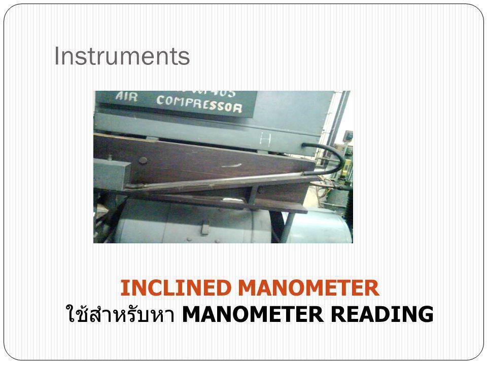 Instruments INCLINED MANOMETER ใช้สำหรับหา MANOMETER READING