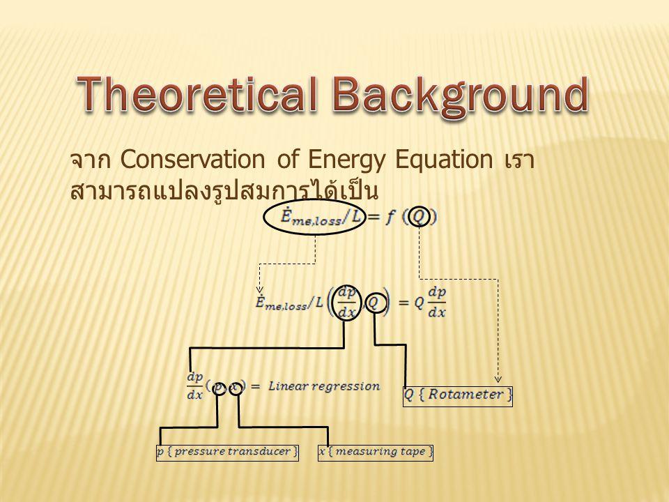 จาก Conservation of Energy Equation เรา สามารถแปลงรูปสมการได้เป็น