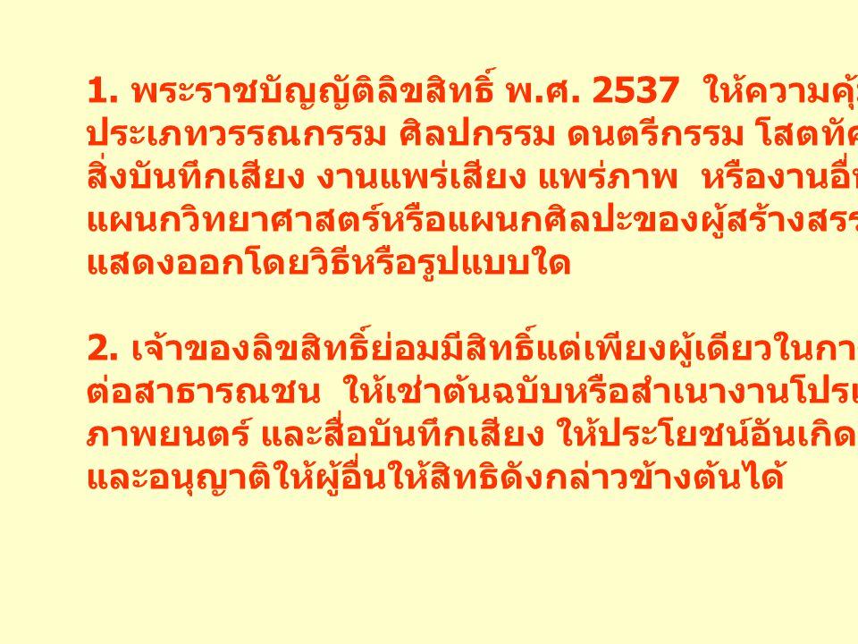 บทสรุป พระราชบัญญัติลิขสิทธิ์ พ. ศ. 2537