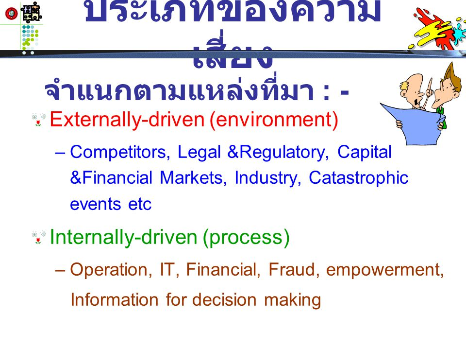 formal reviews of requirements, specifications, design, engineering and operations inspection and process controls investment and portfolio management project management preventative maintenance เทคนิคในการลด ผลกระทบ ( ต่อ ) ( ตัวอย่าง )
