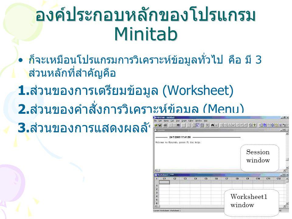 องค์ประกอบหลักของโปรแกรม Minitab ก็จะเหมือนโปรแกรมการวิเคราะห์ข้อมูลทั่วไป คือ มี 3 ส่วนหลักที่สำคัญคือ 1. ส่วนของการเตรียมข้อมูล (Worksheet) 2. ส่วนข