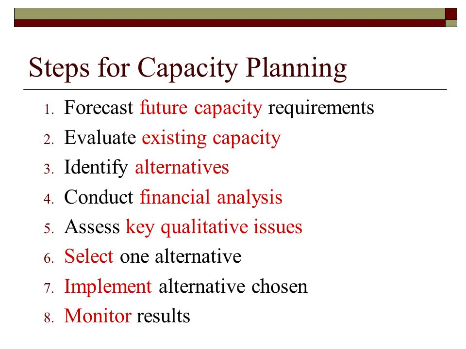 Steps for Capacity Planning 1.Forecast future capacity requirements 2.