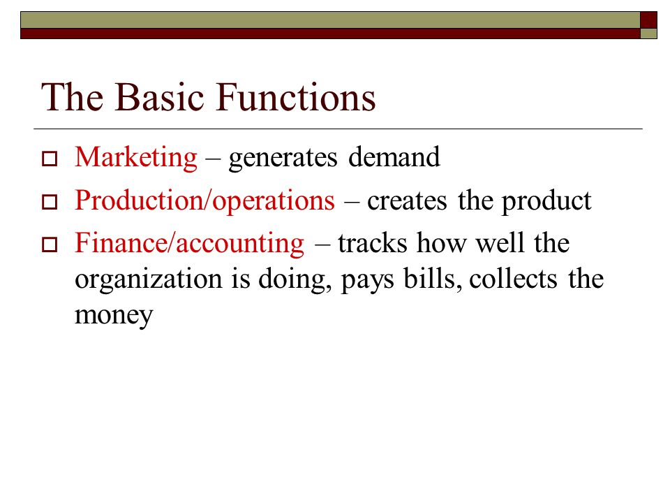 The Basic Functions  Marketing – generates demand  Production/operations – creates the product  Finance/accounting – tracks how well the organization is doing, pays bills, collects the money
