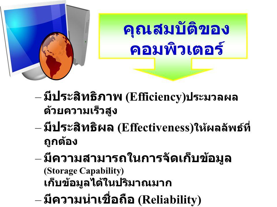 คุณสมบัติของ คอมพิวเตอร์ – มีประสิทธิภาพ (Efficiency) ประมวลผล ด้วยความเร็วสูง – มีประสิทธิผล (Effectiveness) ให้ผลลัพธ์ที่ ถูกต้อง – มีความสามารถในกา