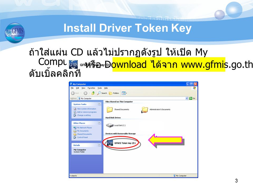 3 Install Driver Token Key ถ้าใส่แผ่น CD แล้วไม่ปรากฏดังรูป ให้เปิด My Computer และ ดับเบิ้ลคลิกที่ หรือ Download ได้จาก www.gfmis.go.th