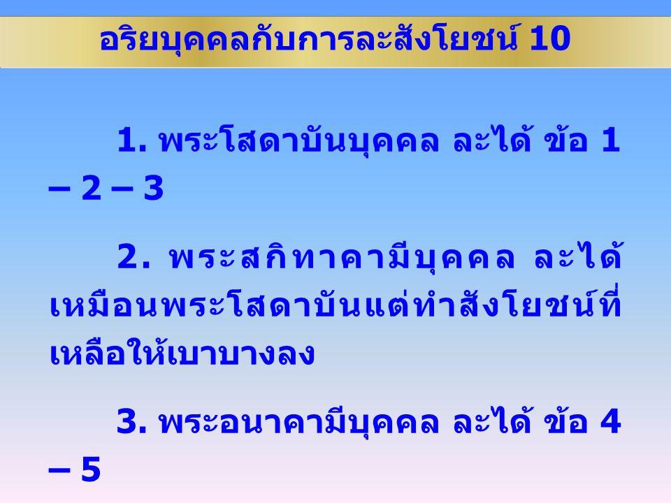 อริยบุคคลกับการละสังโยชน์ 10 1.พระโสดาบันบุคคล ละได้ ข้อ 1 – 2 – 3 2.