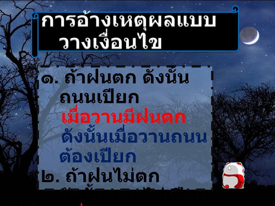 ๓.ถ้าฝนตก ดังนั้น ถนนเปียก เมื่อวานถนน เปียก ดังนั้นเมื่อวาน ต้องมีฝนตก ๔.