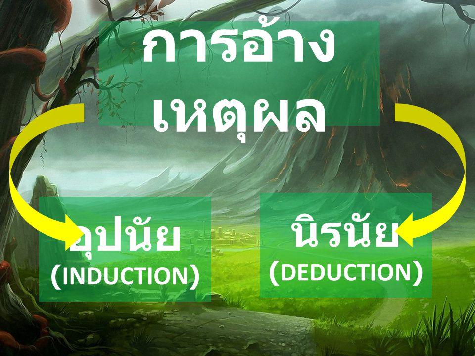 การอ้าง เหตุผล อุปนัย (INDUCTION) นิรนัย (DEDUCTION)