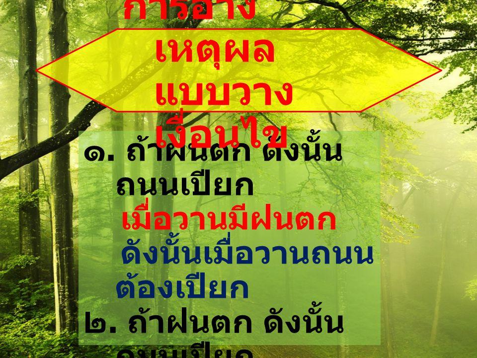 ๑. ถ้าฝนตก ดังนั้น ถนนเปียก เมื่อวานมีฝนตก ดังนั้นเมื่อวานถนน ต้องเปียก ๒. ถ้าฝนตก ดังนั้น ถนนเปียก เมื่อวานไม่มีฝน ตก ดังนั้นเมื่อวาน ถนนต้องไม่เปียก