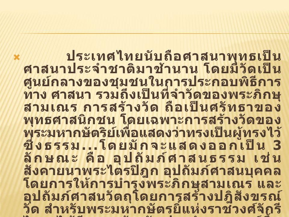  ประเทศไทยนับถือศาสนาพุทธเป็น ศาสนาประจำชาติมาช้านาน โดยมีวัดเป็น ศูนย์กลางของชุมชนในการประกอบพิธีการ ทาง ศาสนา รวมถึงเป็นที่จำวัดของพระภิกษุ สามเณร การสร้างวัด ถือเป็นศรัทธาของ พุทธศาสนิกชน โดยเฉพาะการสร้างวัดของ พระมหากษัตริย์เพื่อแสดงว่าทรงเป็นผู้ทรงไว้ ซึ่งธรรม...
