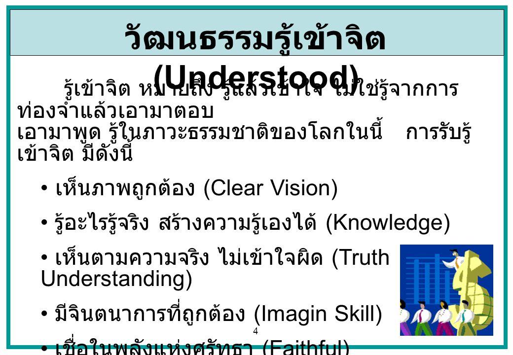 5 วัฒนธรรมคิดเป็น (Thinking) คิดเป็น หมายถึง มีทักษะความคิดที่ทำให้เกิด ความรู้ขึ้นเอง และนำความรู้ มาคิดมาใช้ให้เกิดประโยชน์ และมาใช้แก้ปัญหาได้ บรรยากาศคิดเป็น มีดังนี้ กล้าคิดนอบกรอบ (Innovation) คิดอย่างเป็นระบบ (System Thinking) เอาความรู้มาคิดแก้ปัญหาได้ (Application Skill) มีทักษะความคิดประยุกต์ใช้แก้สถานการณ์ได้ (Events) รู้ว่าเหตุในปัจจุบันมาจากเหตุอะไรในอดีต (Causation) รู้ว่าเหตุในปัจจุบันส่งผลลัพธ์ในอนาคตอย่างไร (Results)