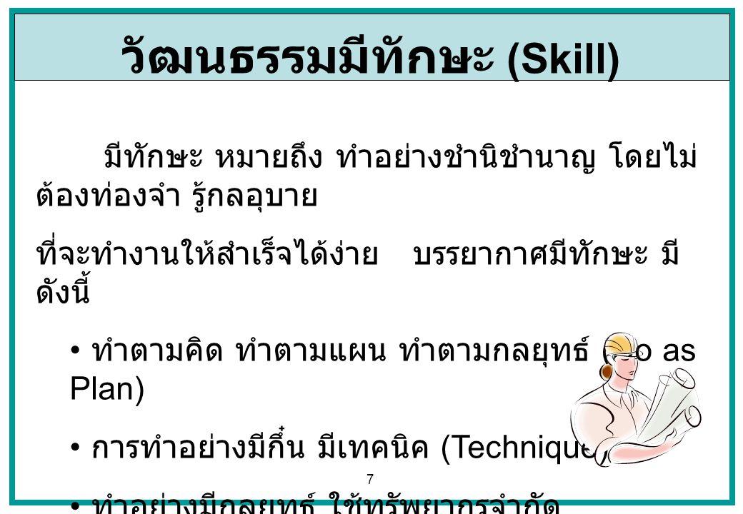 7 วัฒนธรรมมีทักษะ (Skill) มีทักษะ หมายถึง ทำอย่างชำนิชำนาญ โดยไม่ ต้องท่องจำ รู้กลอุบาย ที่จะทำงานให้สำเร็จได้ง่าย บรรยากาศมีทักษะ มี ดังนี้ ทำตามคิด
