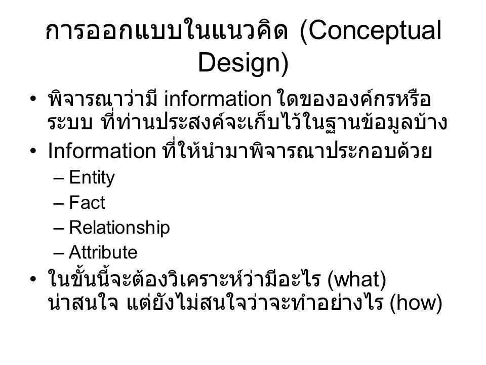 การออกแบบในแนวคิด (Conceptual Design) พิจารณาว่ามี information ใดขององค์กรหรือ ระบบ ที่ท่านประสงค์จะเก็บไว้ในฐานข้อมูลบ้าง Information ที่ให้นำมาพิจารณาประกอบด้วย –Entity –Fact –Relationship –Attribute ในขั้นนี้จะต้องวิเคราะห์ว่ามีอะไร (what) น่าสนใจ แต่ยังไม่สนใจว่าจะทำอย่างไร (how)