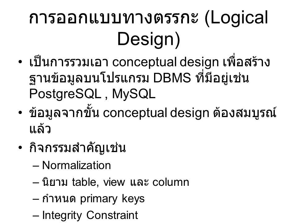 การออกแบบทางตรรกะ (Logical Design) เป็นการรวมเอา conceptual design เพื่อสร้าง ฐานข้อมูลบนโปรแกรม DBMS ที่มีอยู่เช่น PostgreSQL, MySQL ข้อมูลจากขั้น conceptual design ต้องสมบูรณ์ แล้ว กิจกรรมสำคัญเช่น –Normalization – นิยาม table, view และ column – กำหนด primary keys –Integrity Constraint –Referential Relationship