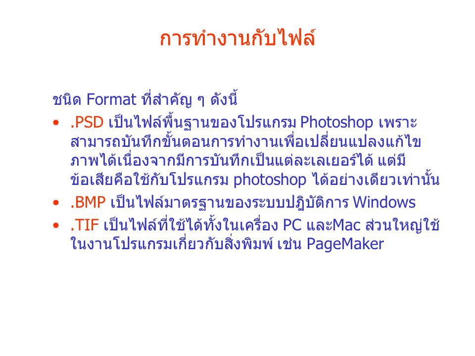 การทำงานกับไฟล์ ชนิด Format ที่สำคัญ ๆ ดังนี้.PSD เป็นไฟล์พื้นฐานของโปรแกรม Photoshop เพราะ สามารถบันทึกขั้นตอนการทำงานเพื่อเปลี่ยนแปลงแก้ไข ภาพได้เนื