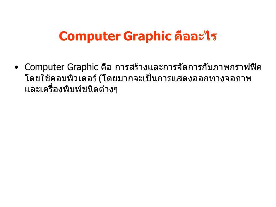 Computer Graphic คืออะไร Computer Graphic คือ การสร้างและการจัดการกับภาพกราฟฟิค โดยใช้คอมพิวเตอร์ (โดยมากจะเป็นการแสดงออกทางจอภาพ และเครื่องพิมพ์ชนิดต